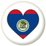 Belize Country Flag Heart 25mm Pin Button Badge